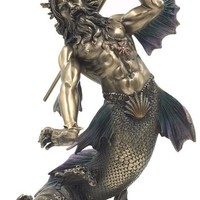 Poseidon as Merman Holding Trident Neptune Greek God of the Sea Statue 11H