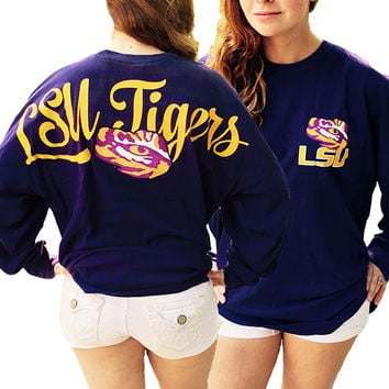 Louisiana LSU Tigers Women's Eye Logo Sweeper Long Sleeve Oversized Top Shirt
