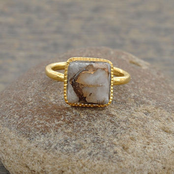 Copper White Calcite Square 10mm Micron Gold Plated 925 Sterling Silver Bezel Ring - #1440