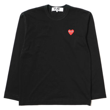 Cotton Jersey L/S Red Emblem Tee Black