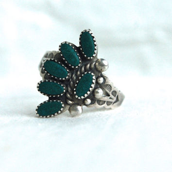 Vintage Zuni Ring Green Turquoise Stamped Sterling