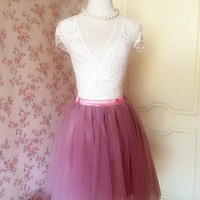 Dusky Pink TULLE SKIRT /Ladies Tulle Skirts /Fashion Tulle Tutu /Dusky Pink Skirt, Custom Adult tutu skirts Party Skirts(T1830)