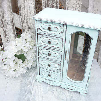 Light Pastel Aqua SHABBY CHIC Jewelry Box Armoire