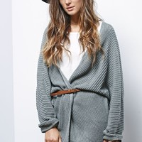 LA Hearts Rib Stitch Dolman Sleeve Cardigan - Womens Sweater