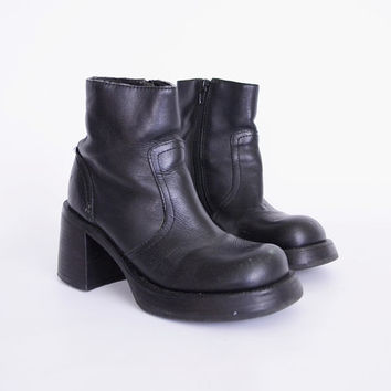 Steve Madden Boot Black Boot Black Leather Boot Chunky Heel Boot Platform Heel Motorcycle Boot Biker Boot 90s Boot 90s Grunge Boot Womens 6