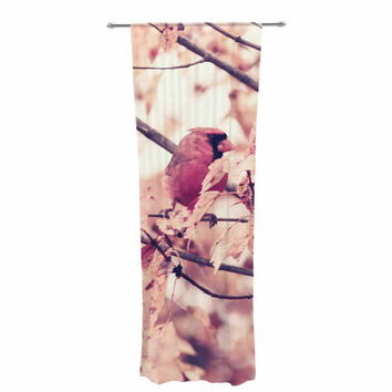 "Qing Ji ""Angry Bird in Fall Leaves"" Orange Nature Decorative Sheer Curtain"