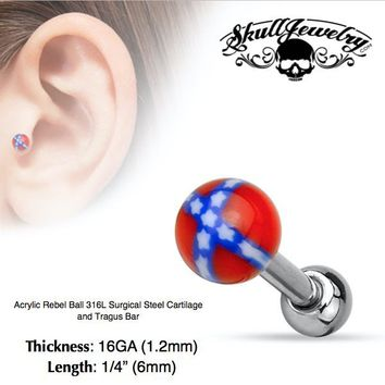 Acrylic Rebel Ball 316L Surgical Steel Cartilage and Tragus Bar (e550)