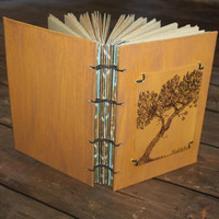 Shore Pine Tree Original Pen and Ink Coptic Journal - Rustic Guest Book - Wedding- Gift