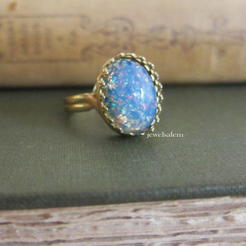 Blue Fire Opal Ring Gift Gold Silver Ring Ombre Speckled Egg Ring Friendship Sister BFF Best Friends Glitter Preppy Galaxy Modern Cute