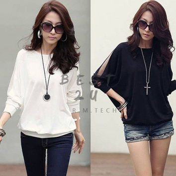 Women Trendy Long Sleeve Loose Casual T-Shirt Brand Batwing Tops Blouses Black White = 1945816132