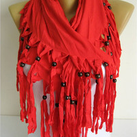 Trend Scarf- red Scarf- Shawls-Scarves-gift Ideas For Her Women's Scarves-christmas gift- for her -Fashion accessories