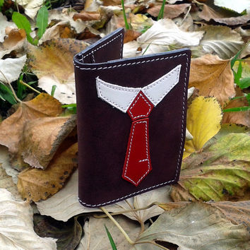 Credit Card Wallet For 4 Credit Cards With Red Necktie - FREE Shipping Worldwide- Purple Leather Credit Card Holder - Tie