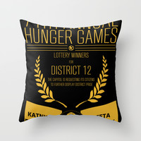 74th annual hunger games poster Throw Pillow by BomDesignz