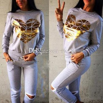 new hot woman's cool tracksuit sweatshirt+pants  gray 2pc