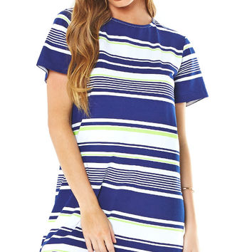 Stripe Print Tee Dress