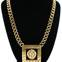 Gold Square Lion Head Necklace Chain Rihanna Inspired