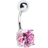 Pink Exquisite Cubic Zirconia Belly Ring | Body Candy Body Jewelry