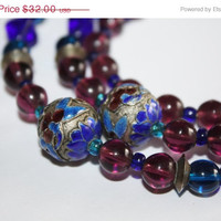 Easter Sale Vintage Enamel Cloisonne Necklace Amethyst Glass 1950s Jewelry