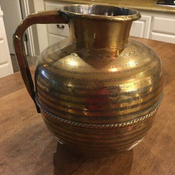 Vintage Large Ornate Polished Brass Water Pitcher Handled Round Etched EUC