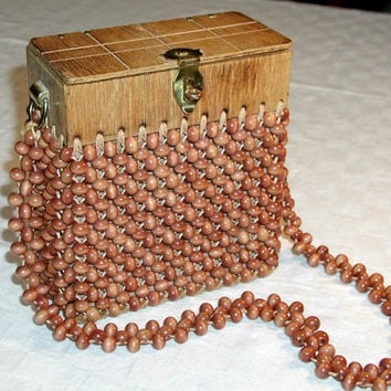Vintage Wooden Bead Purse Gaymode Brown Beaded Bag