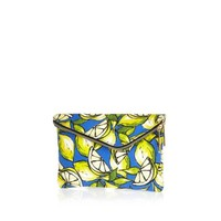 Yellow lemon print asymmetric zip clutch bag