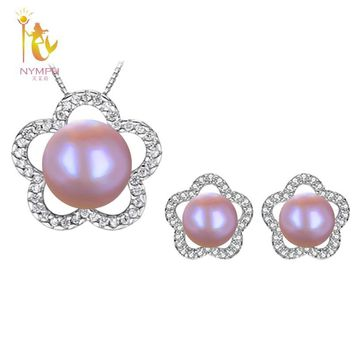[NYMPH]Pearl Jewelry Sets For Women Fine Jewelry Natural Freshwater Pearl Necklace & Earrings Wedding Party Star[T24903]