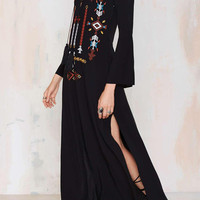 Deep V-Neck Embroidered Split Side Maxi Dress
