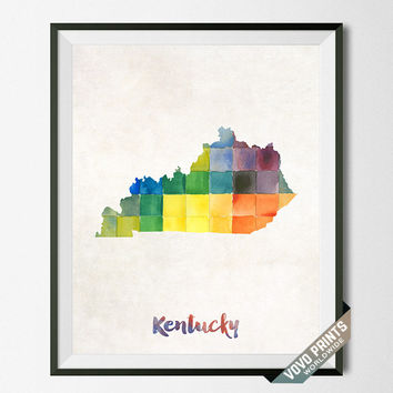 Kentucky Map, Print, Poster, Watercolor, Home Town, Dorm, Art, USA, Painting, States, America, Wall Decor, Silhouette, State [NO 17]