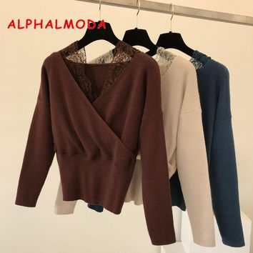 ALPHALMODA V-collar Pullovers Women Graceful Sweater Lace Patchwork Perspective Sexy Jumper Ladies Fashion Knitted Jacket