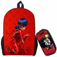 17 Inch Mochilas Infantil Miraculous Ladybug School Backpack For Teenage Cat Noir Children School Bag with Pencil Bag