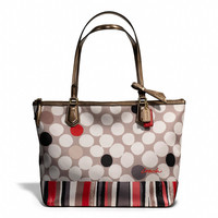 poppy small tote in watercolor dot print fabric