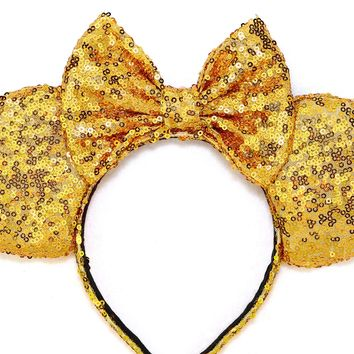 Gold Sequin Ears and Gold Bow
