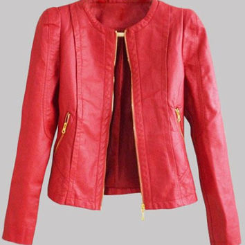 Round Neck Solid Color Zippered PU Jacket