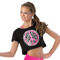 Cropped Graphic Peace Sign T-Shirt; Urban Groove