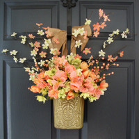 Tulip Spring Wreaths, Spring Tulip Front Door Wreaths, Spring Floral Containers, Door Decor, Wreaths, Hanging Door Decorations, Easter Decor