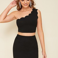 One Shoulder Scallop Edge Top And Bodycon Skirt Set