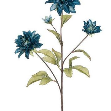 "Dahlia Silk Flower Spray in Teal Blue30"" Tall x 2.75""-5"" Diameter"