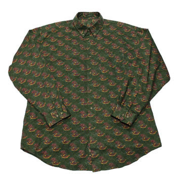 Vintage 90s Green Feather Print Button Down Shirt Mens Size XL