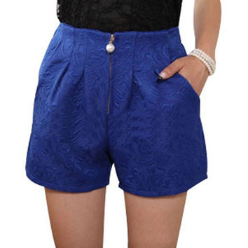 2017 Summer Plus Size 4XL Women Shorts Casual High Waist Pleated Crochet Lace Jacquard Weave Zipper Short Pants Free Shipping