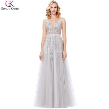 Grace Karin Grey Prom Dresses Long Elegant Formal Gowns V Neck Tulle Lace Applique See Through Navy Blue Wedding Party Dresses