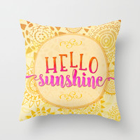Hello Sunshine Throw Pillow by Noonday Design