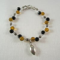 New Orlean Saints, Black and Gold Bead Bracelet, Football Charm