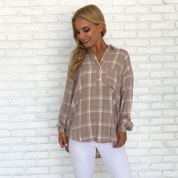 Softer Side Long Sleeve Plaid Blouse