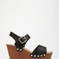 Studded Faux Leather Wedges