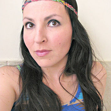 Braided Leather Boho Headband, Rainbow dyed suede braid headband