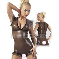 short latex tights playsuits female's trasparent black