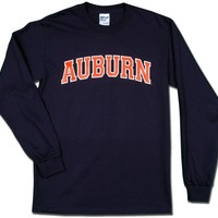 Arched Auburn 2004 Long Sleeve Tee - navy tee/orange fill by Tiger Rags