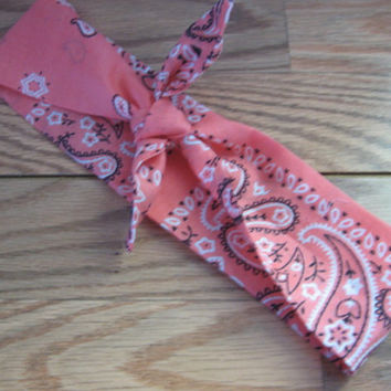 Coral Hair Bandana, RockabillyBandana, Bandana band, Coral Bandana Print, Knotted Bandana, BOHO Hairband, Women and Teens, Fabric Headband