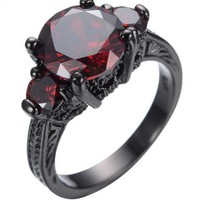 SNAZZY Black Ruby Stone Oval Cut -- FREE Shipping