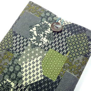 "11"" Macbook Air Case, Fabric Macbook Covers, Gift For Her, Japanese Kimono Cotton Fabric Patch work Pattern chrysanthemum Green"